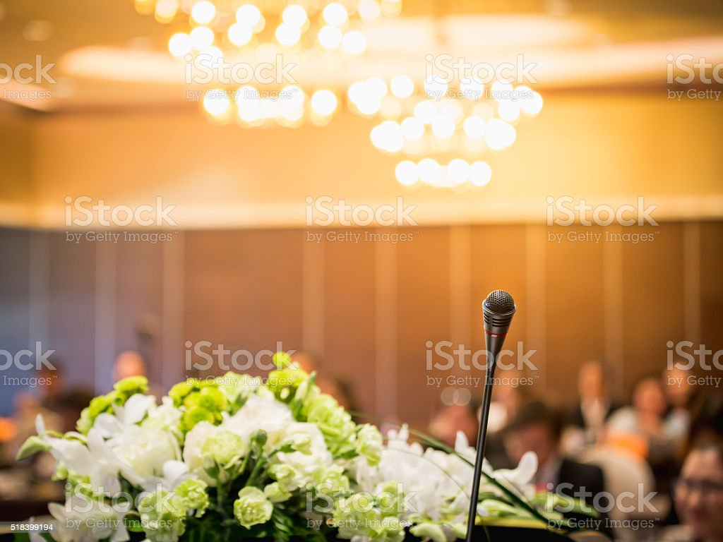 Microphone in business conference room stock photo