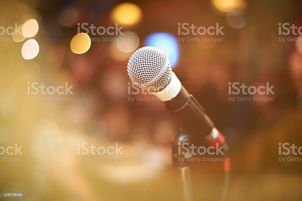 microphone in concert hall stock photo