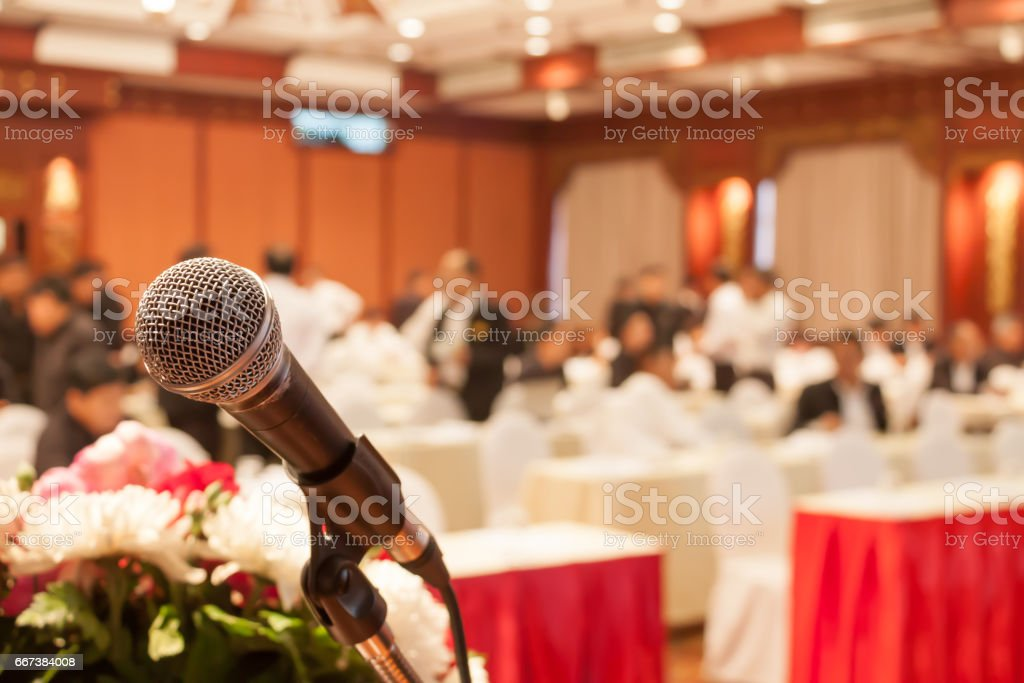 microphone in conference hall stock photo