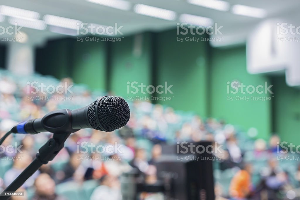 Microphone in front of people stock photo