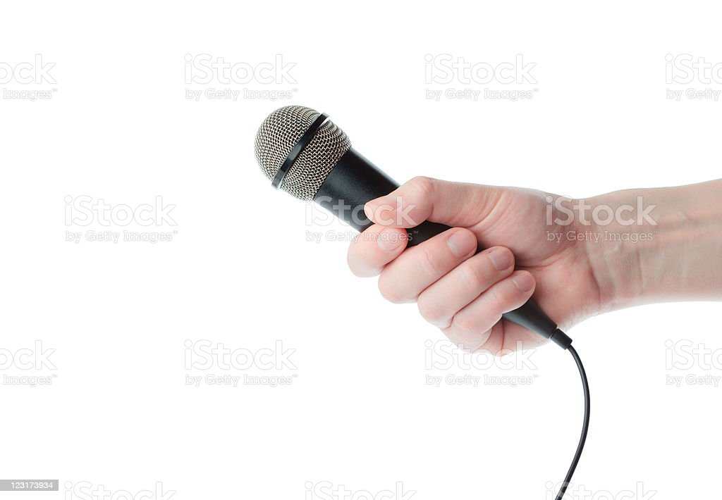 Microphone in hand royalty-free stock photo