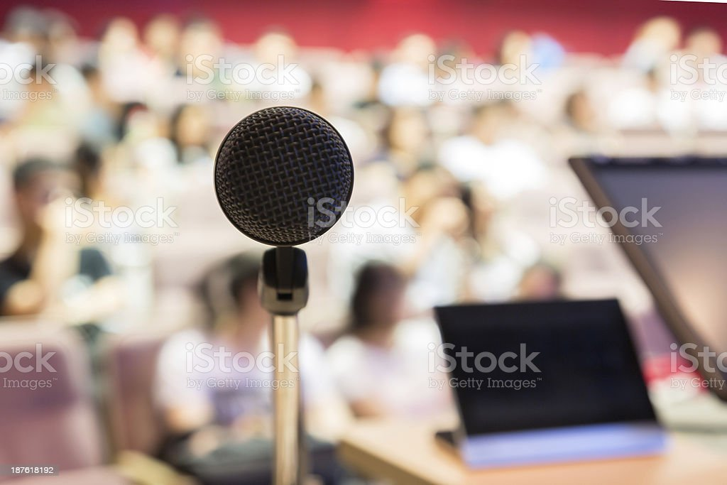 Microphone in Modern Classroom stock photo