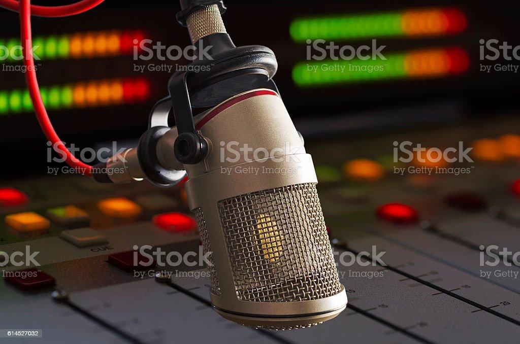 microphone in radio studio stock photo