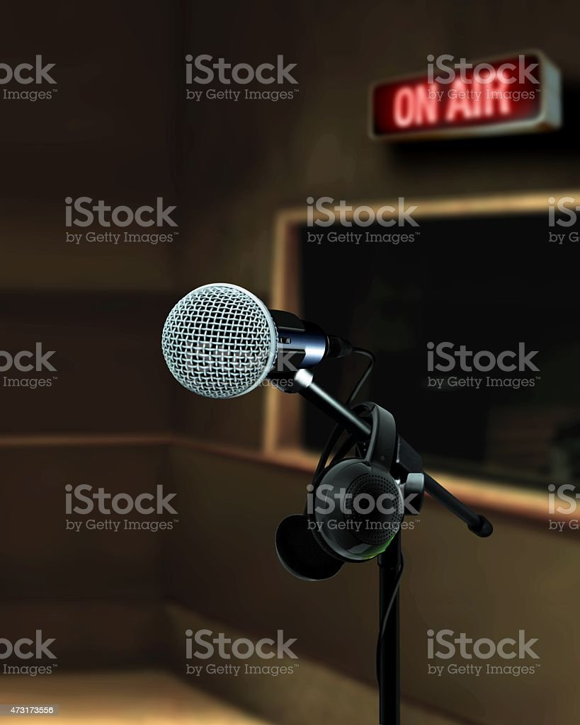 Microphone in recording studio on air stock photo