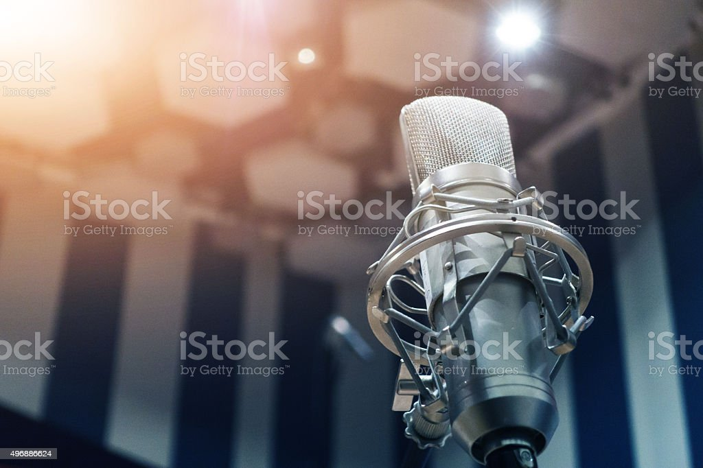Microphone in recording studio stock photo