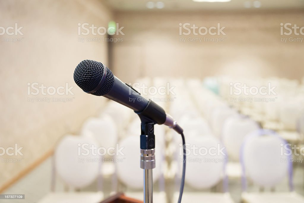 Microphone in seminar room stock photo