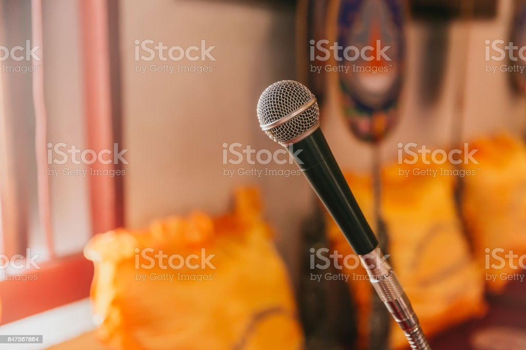 microphone in Thai temple for Buddhist monk pray and sermon in Thai church stock photo