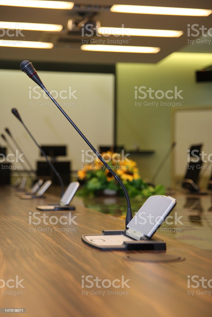 Microphone in the meeting room royalty-free stock photo