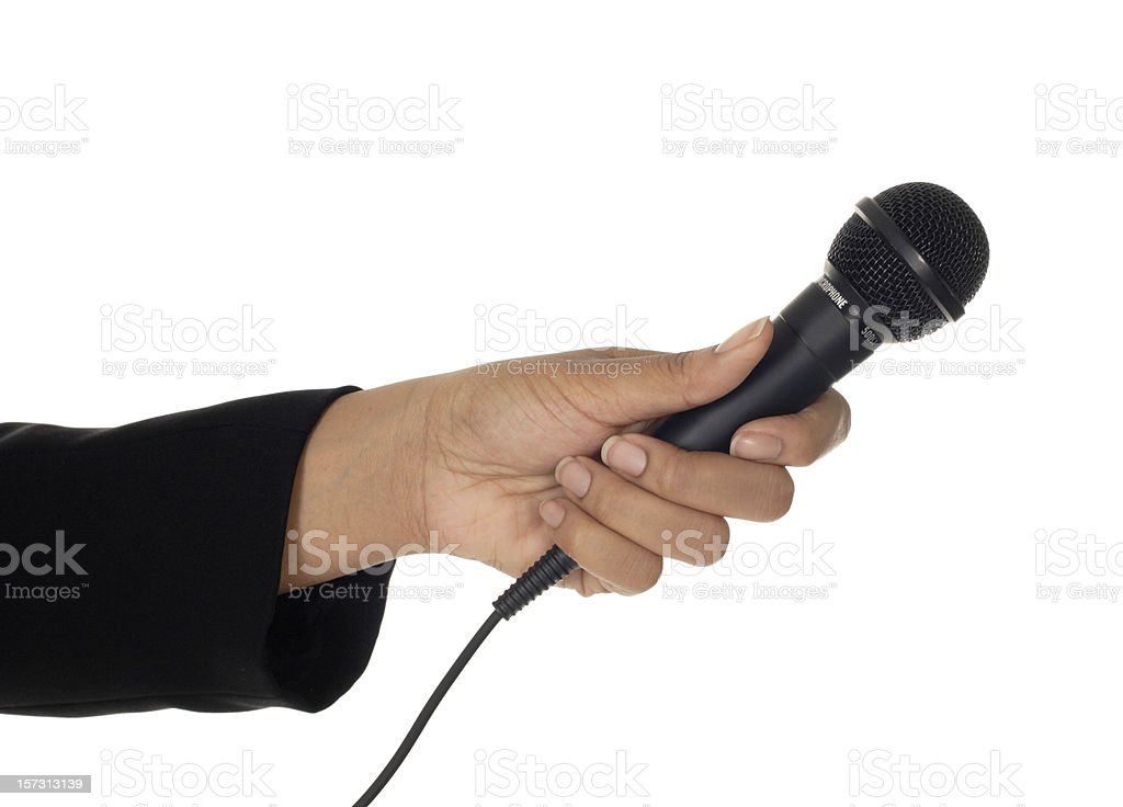 Microphone in Woman's Hand royalty-free stock photo
