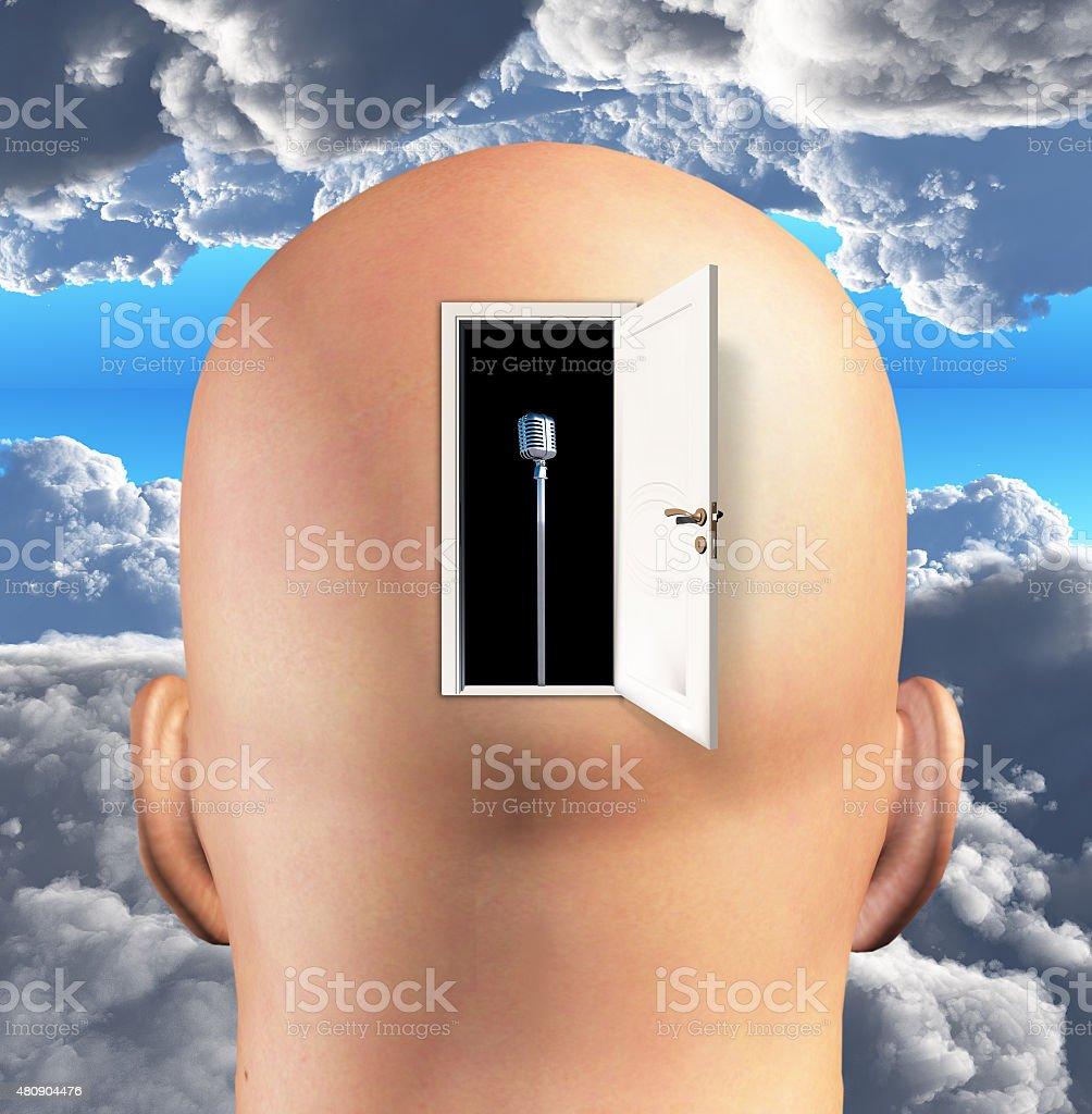 Microphone inside mind stock photo