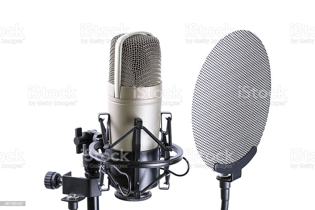 Microphone isolated on white royalty-free stock photo