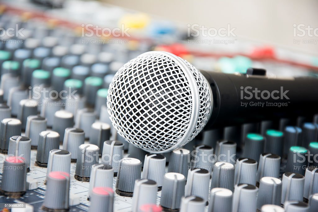 Microphone on a console stock photo