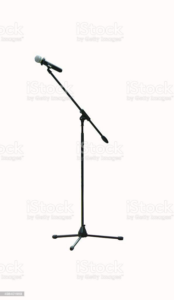 microphone on a long stand stock photo