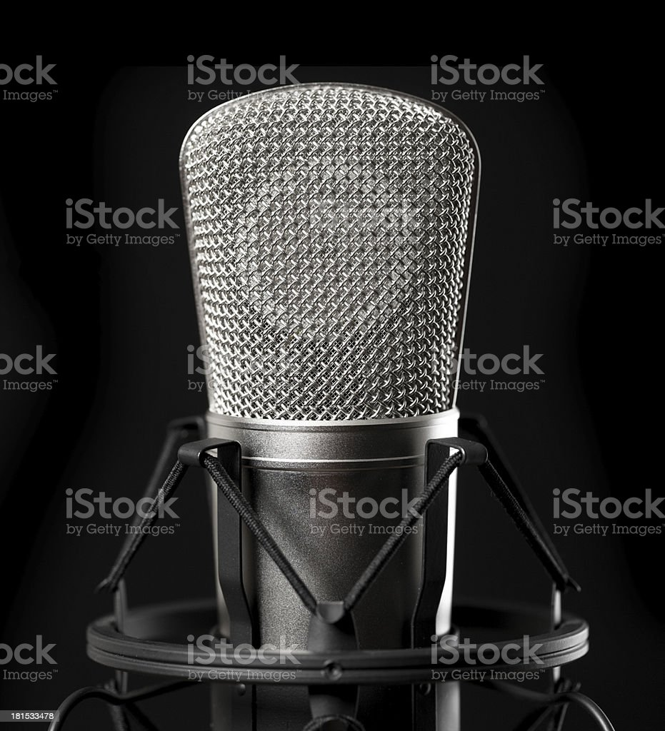 Microphone on black background royalty-free stock photo