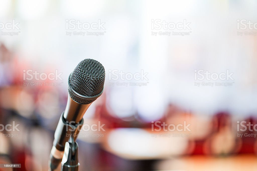 Microphone on blurred background royalty-free stock photo