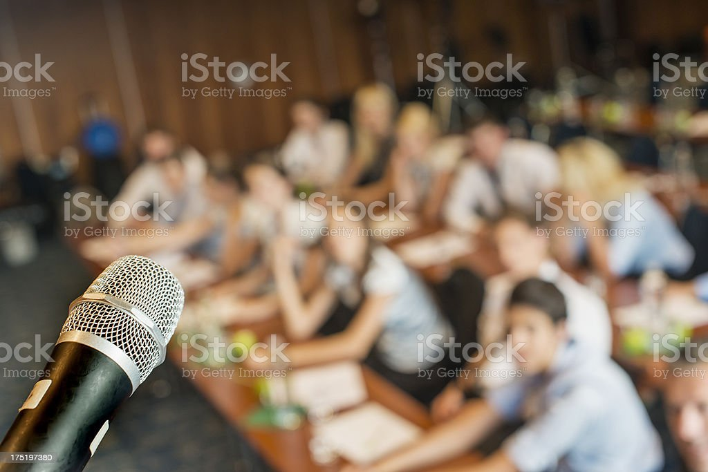 Microphone on business seminar royalty-free stock photo