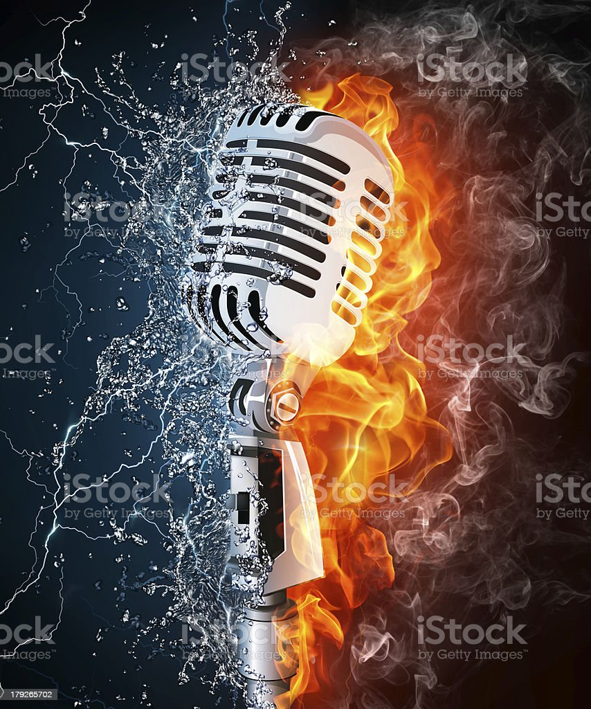 Microphone on Fire and Water stock photo