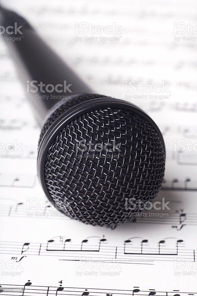 Microphone on Sheet Music royalty-free stock photo