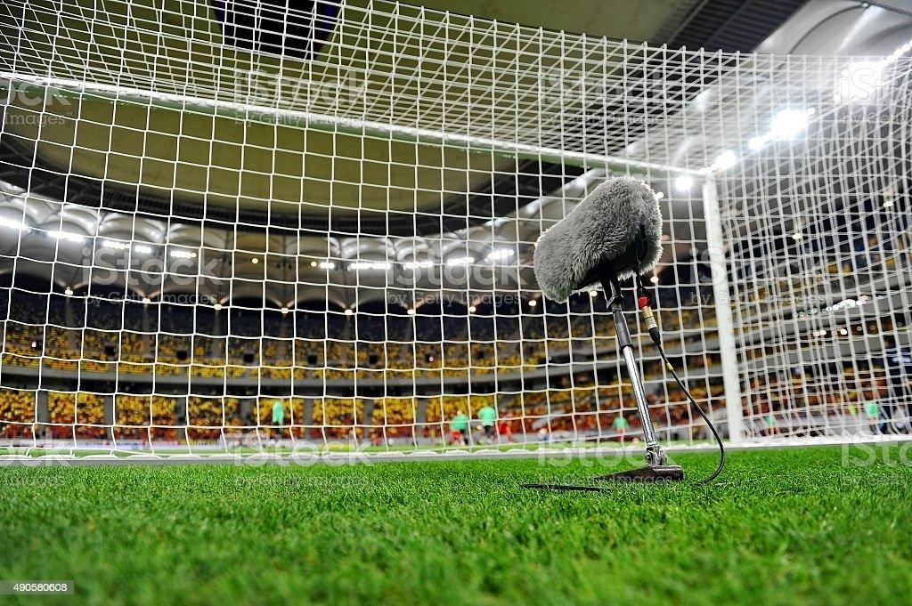 Microphone on sport field stock photo