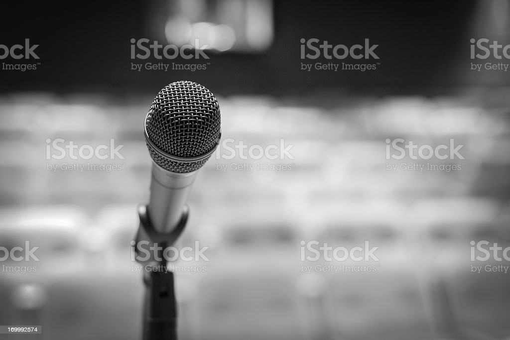 Microphone on stage (Black-and-white image) royalty-free stock photo