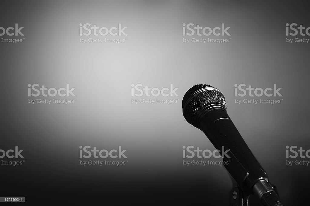 Microphone on stand. stock photo