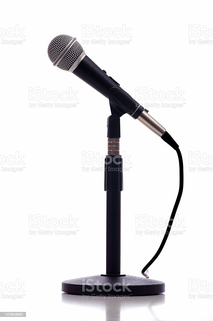 Microphone on stand with white background stock photo