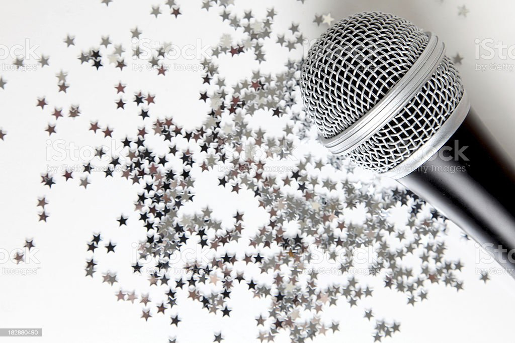 Microphone on star background royalty-free stock photo