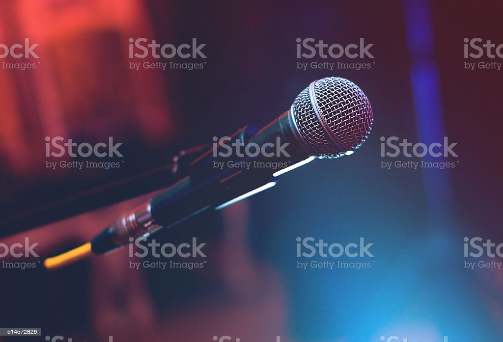 Microphone on the stage stock photo