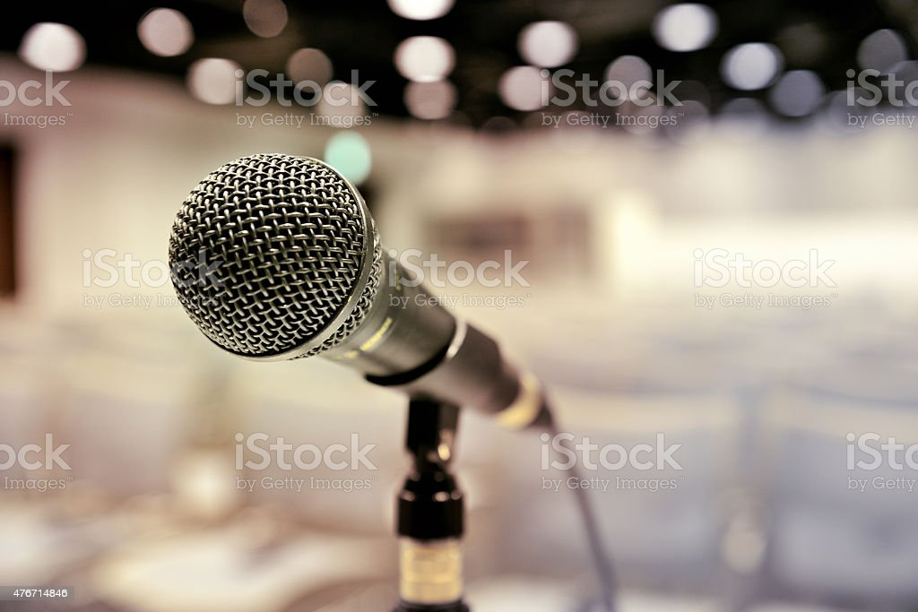 Microphone ready on stand, all set for conference to begin stock photo