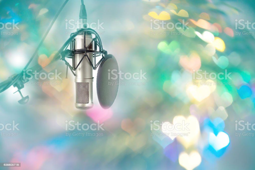 Microphone setting ready for DJ in celebration party valentine's day. stock photo