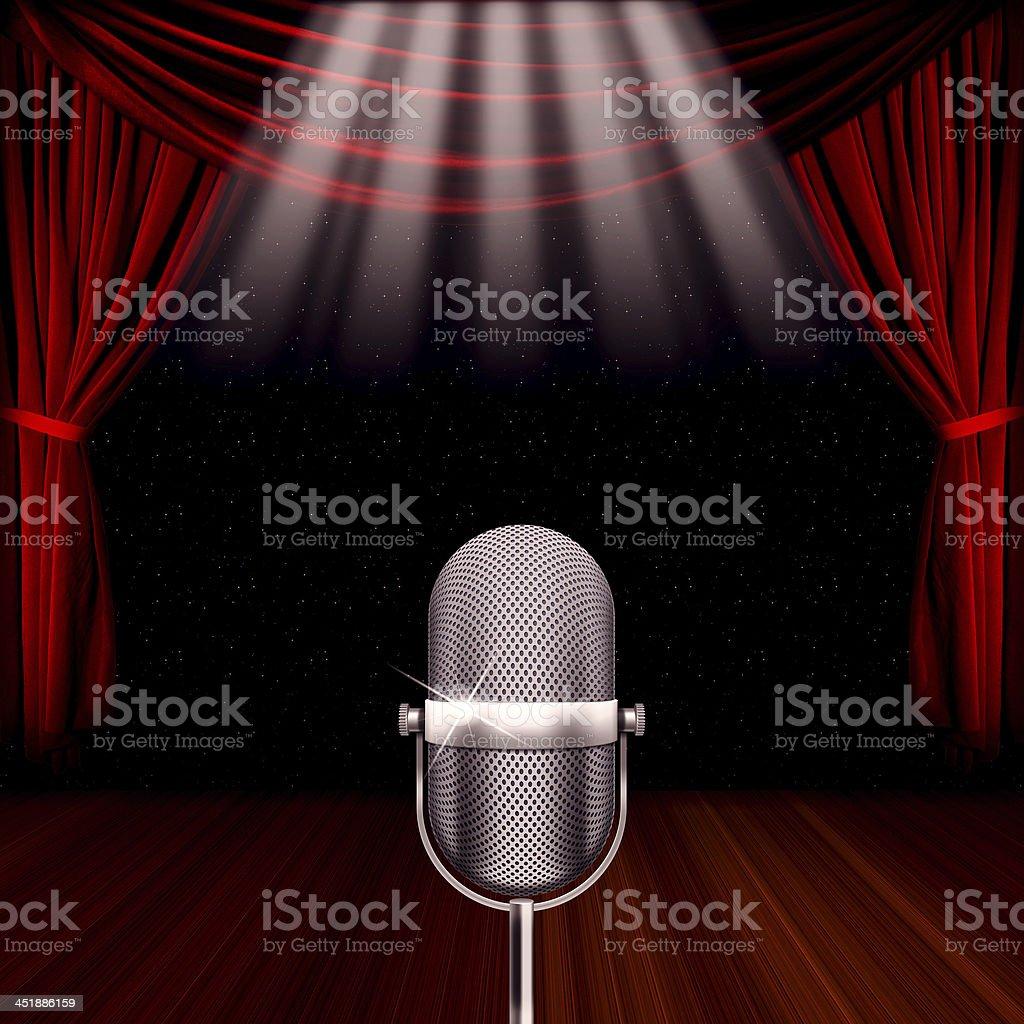 Microphone spotlight royalty-free stock photo