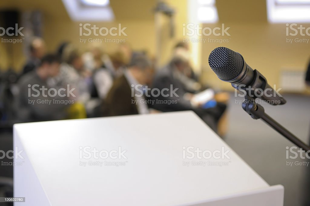 Microphone stand at conference. stock photo