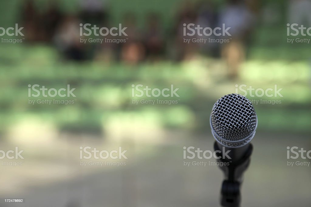 Microphone with crowd royalty-free stock photo