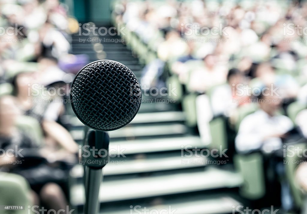 Microphone with crowed stock photo