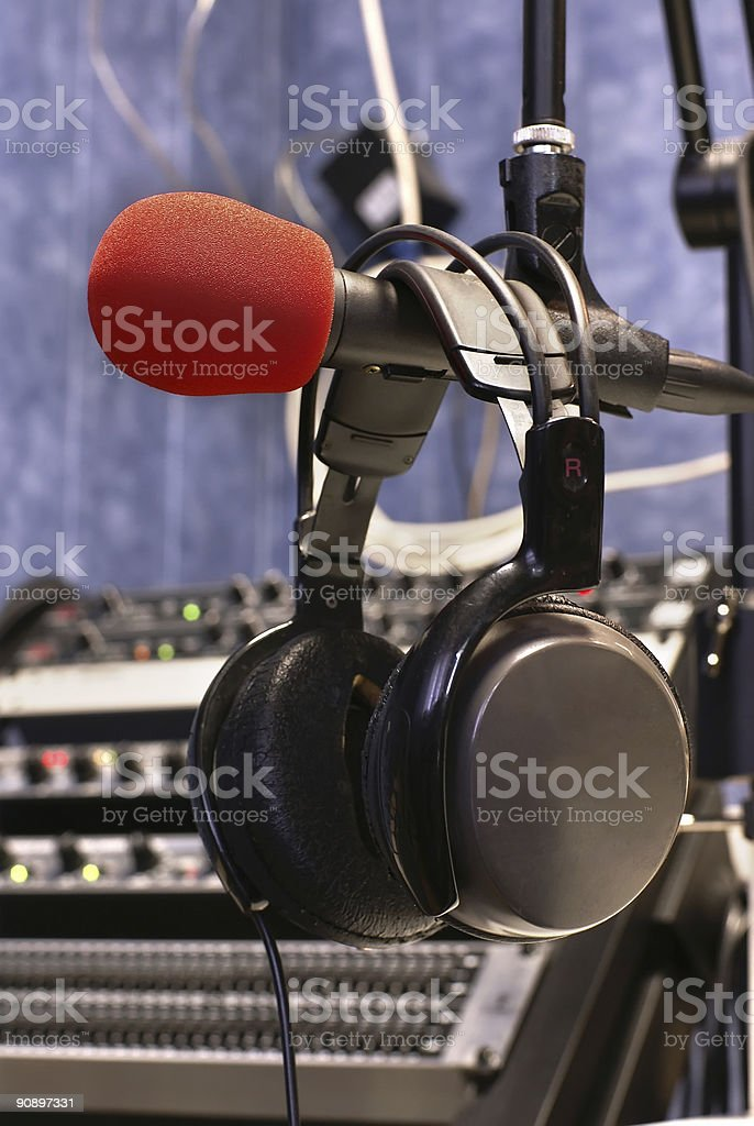 Microphone with head phones royalty-free stock photo