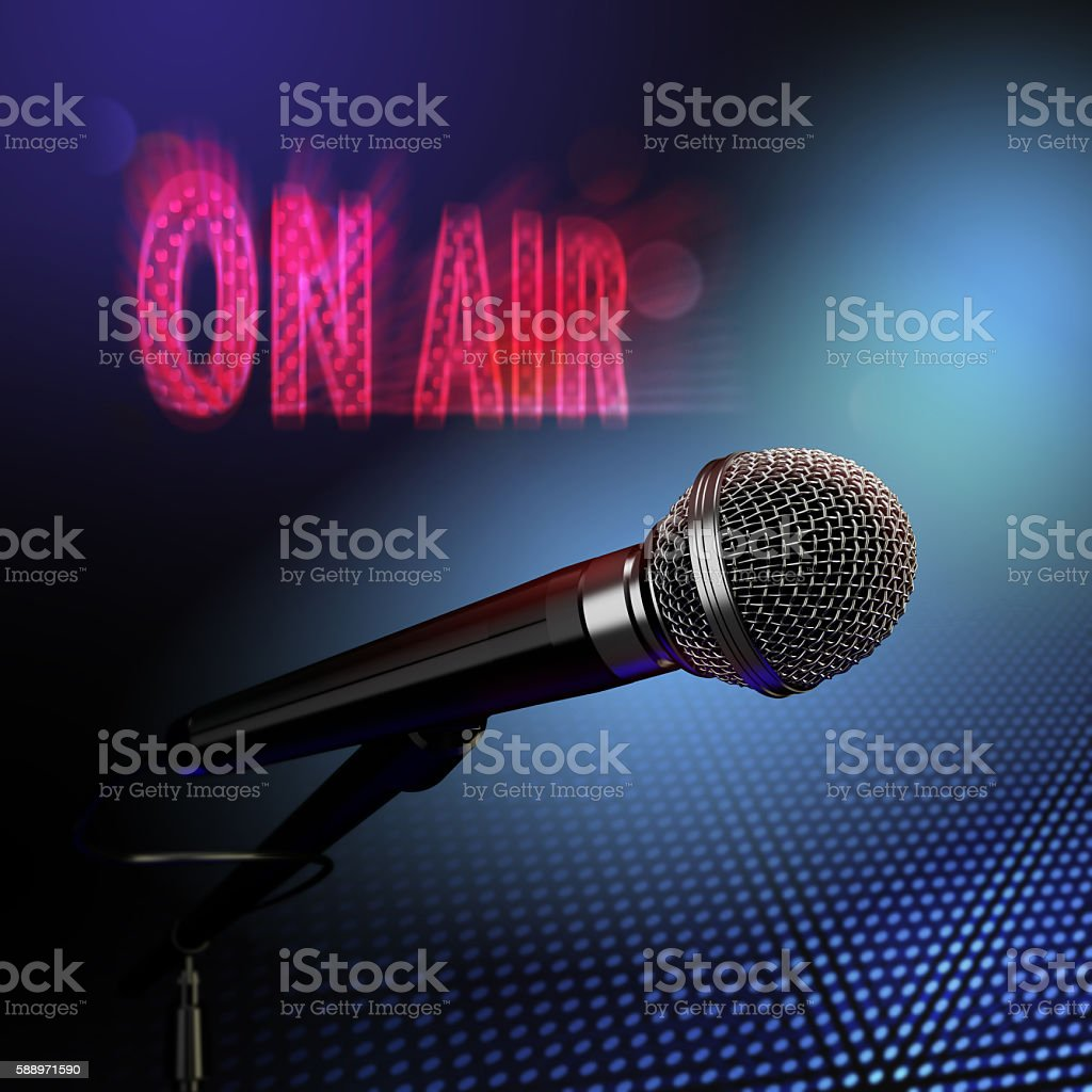 microphone with on air sign stock photo