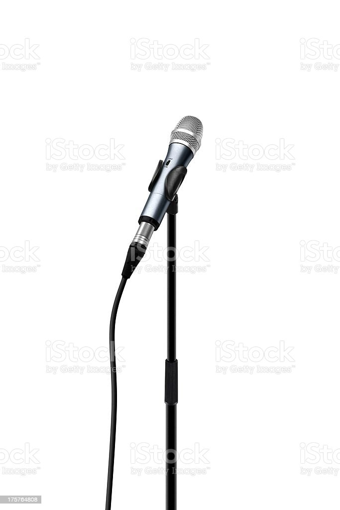 Microphone with stand over white stock photo