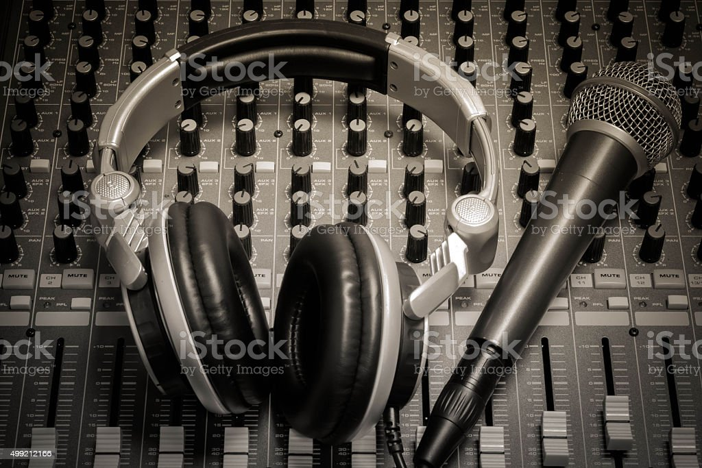 microphone,headphone,sound mixer background. stock photo