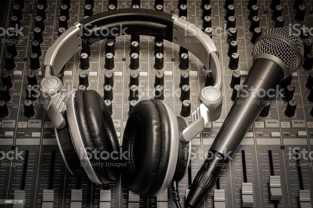 microphone,headphone,sound mixer background. stock photo