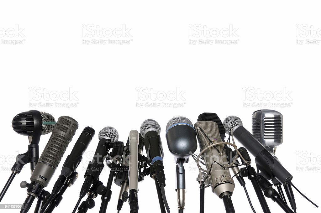 Microphones At Press Conference stock photo