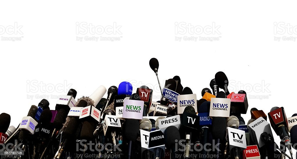Microphones during press conference stock photo