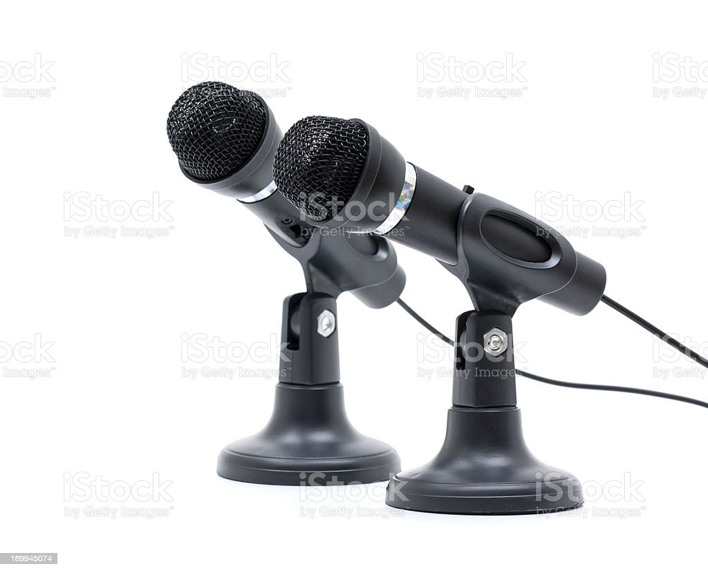 Microphones isolated on white background stock photo