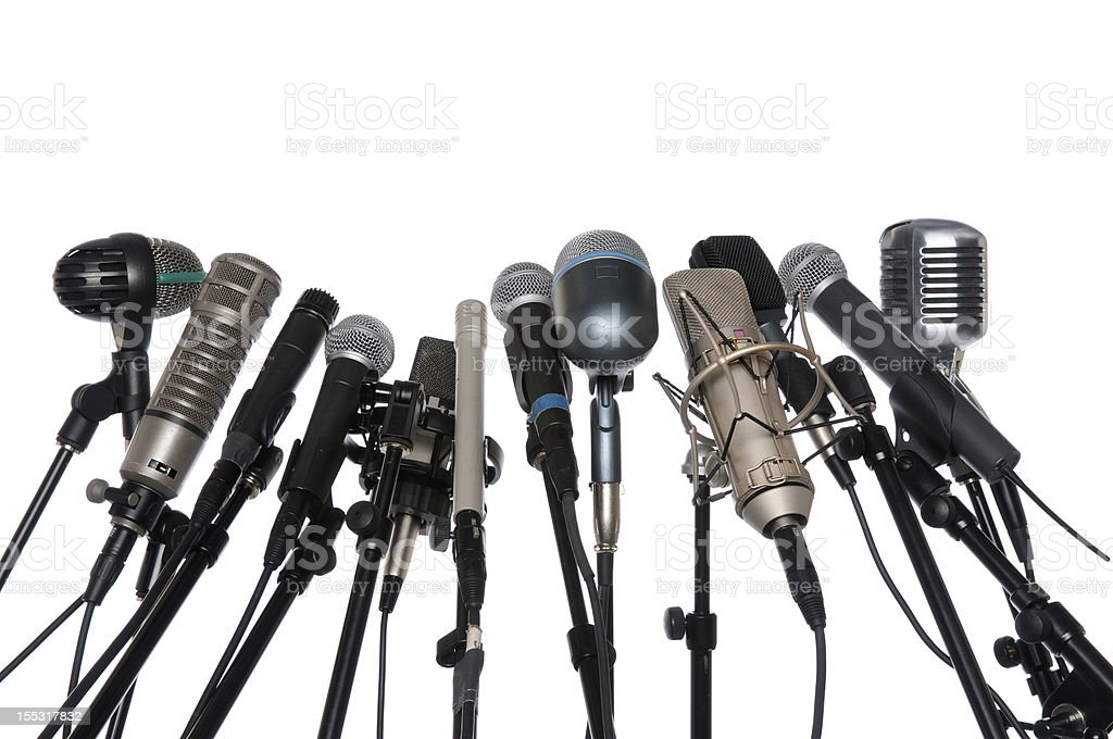 Microphones Over White Background stock photo