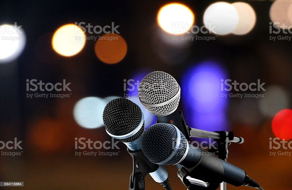 Microphones with blur lights background stock photo