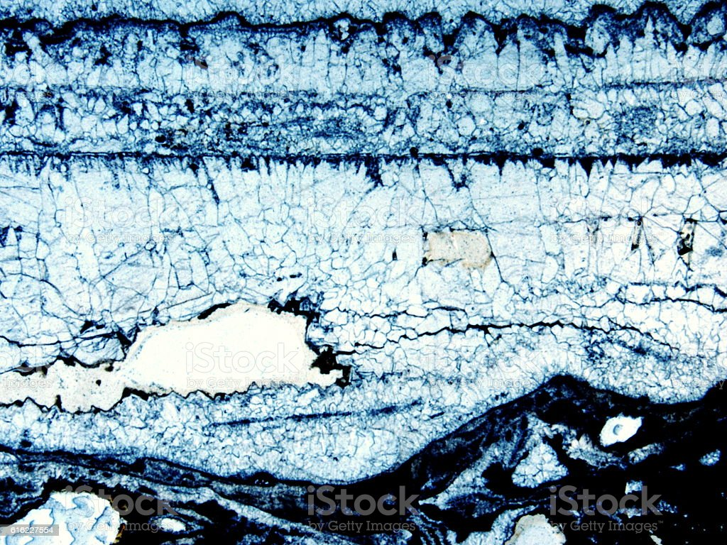 Micro-photo of geological thin section stock photo