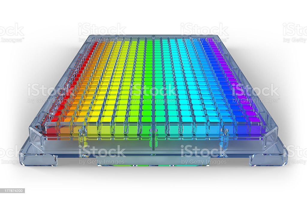 Microplate with Multicolored Wells stock photo
