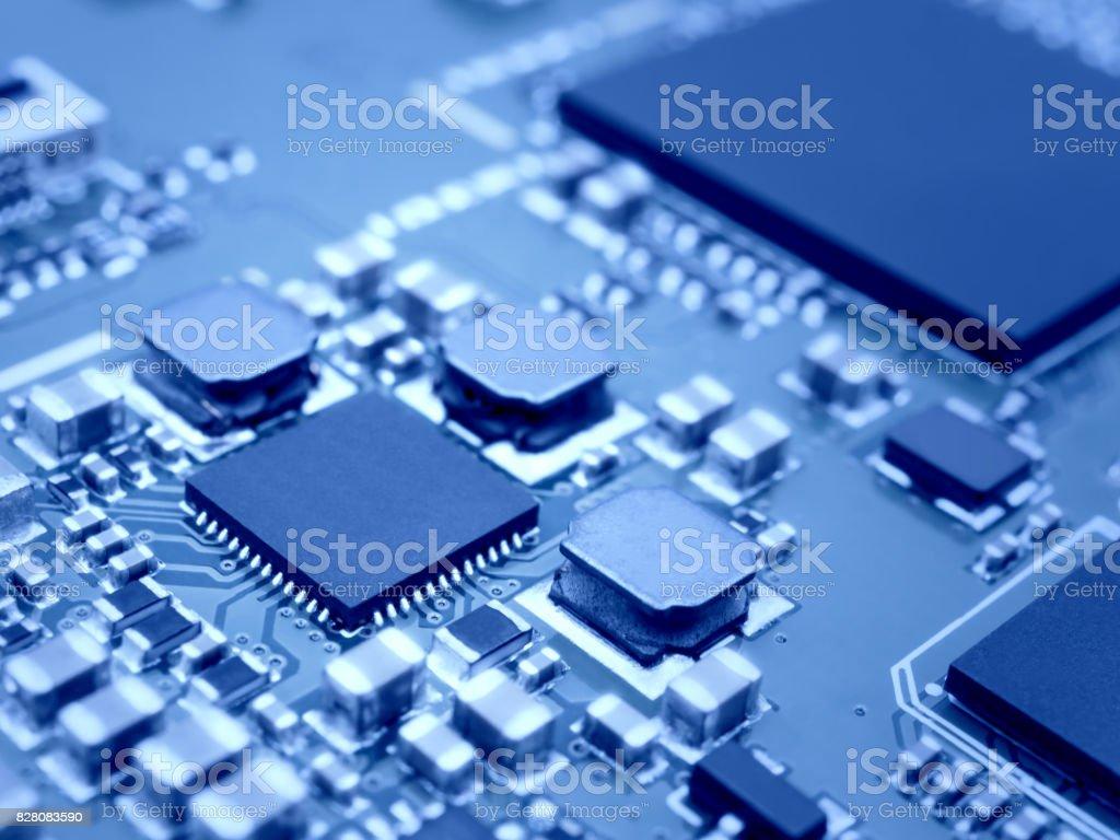 Microprocessor on electronic circuit board stock photo