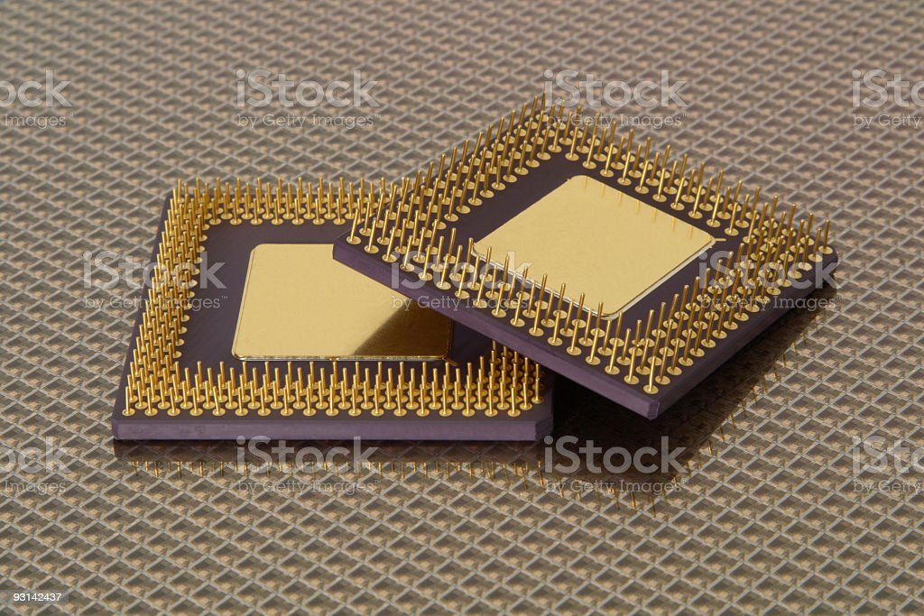 Microprocessor on Wafer stock photo