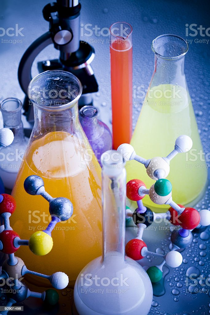 Microscope and atom & Laboratory glass royalty-free stock photo