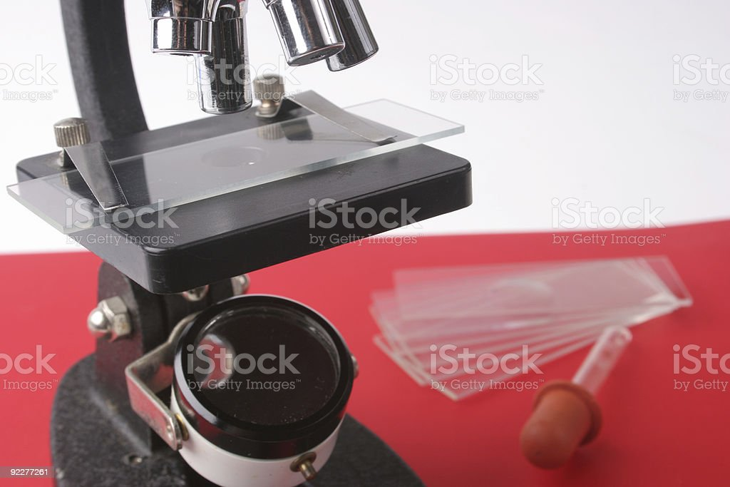 Microscope and glass slides royalty-free stock photo